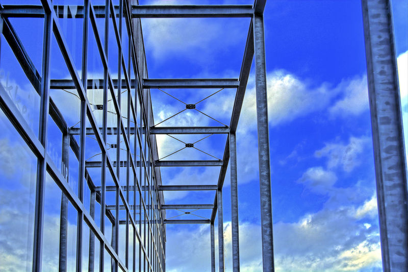 glass and metal structure Architecture Blue Bridge - Man Made Structure Built Structure Cloud - Sky Connection Day Glass And Metal Glass And Metal Architecture Glass And Steel Glass Architecture Low Angle View Metal Architecture Metal Columns Modern Architecture Nature No People Outdoors Sky Steel Structure  Suspension Bridge Transportation