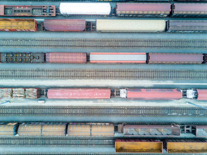 High angle view of freight train