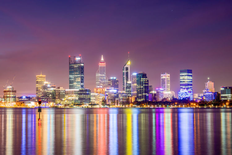 Perth city skyline as viewed from South Perth during sunset. Western Australia, Australia. Australian City Cityscape Perth Perth Australia Perth CBD Perth, Australia Western Australia Reflections, South Perth Sunset Swan River
