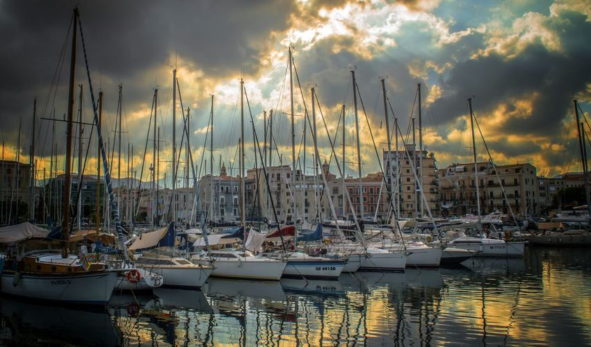 Nautical Vessel Harbor Waterfront Architecture Sea Water Day Boat Abundance Mast Cloud - Sky Sailboat Cloudy Commercial Dock Outdoors Tourism Sky Moored Transportation Mode Of Transport Palermo, Italy