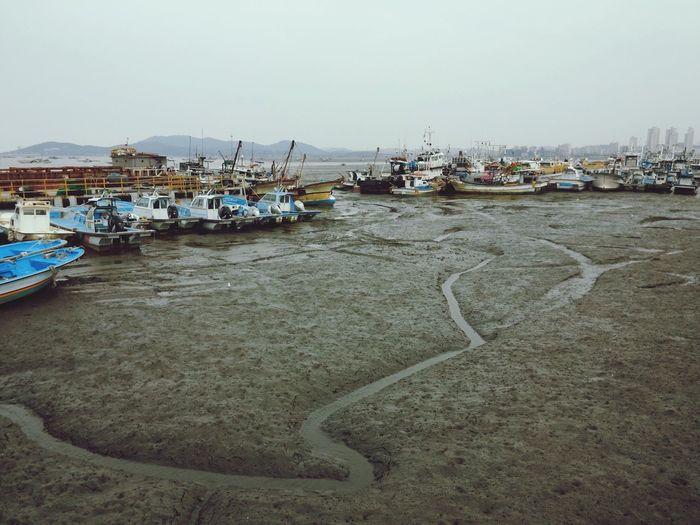 Harbor Ships Mud Water Yellow Sea