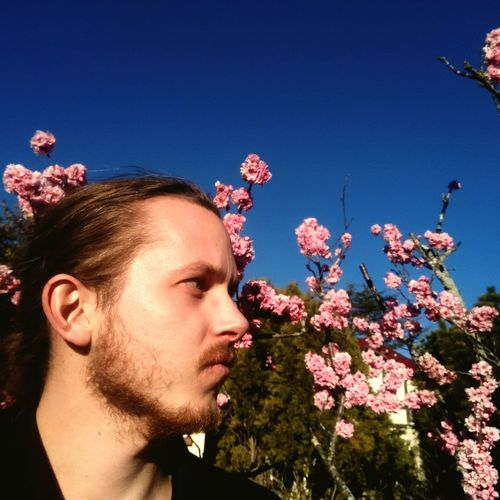 Thoughtful Man Standing Against Pink Flowers