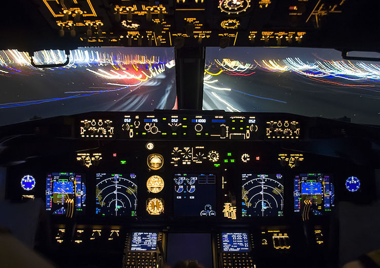 Airplane Air Vehicle Cockpit Transportation Control Panel Mode Of Transportation Control Vehicle Interior Night Dashboard Illuminated Travel Airport Technology No People Aerospace Industry Airport Runway Commercial Airplane Modern Built Structure Complexity
