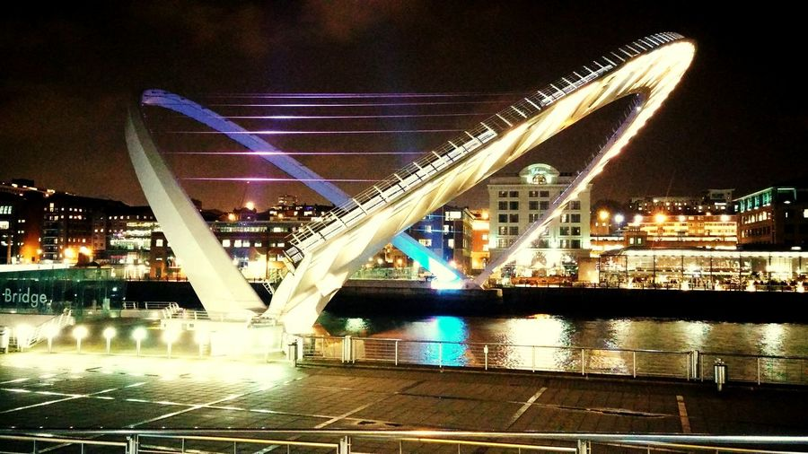 Millenium Bridge, Newcastle Hanging Out Check This Out Taking Photos Relaxing Enjoying Life Walking Around Nightphotography Night Lights Nightshot Nightscape River River Bridge Bridge Moving City Lights