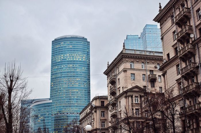 Old and new 🏙 Moscow streets Street Photography Streetphotography City Skyline Urban Skyline Architecture_collection Old And New Old And New Architecture Building Exterior Architecture Built Structure Day Low Angle View Sky No People Window Modern Skyscraper City Tree
