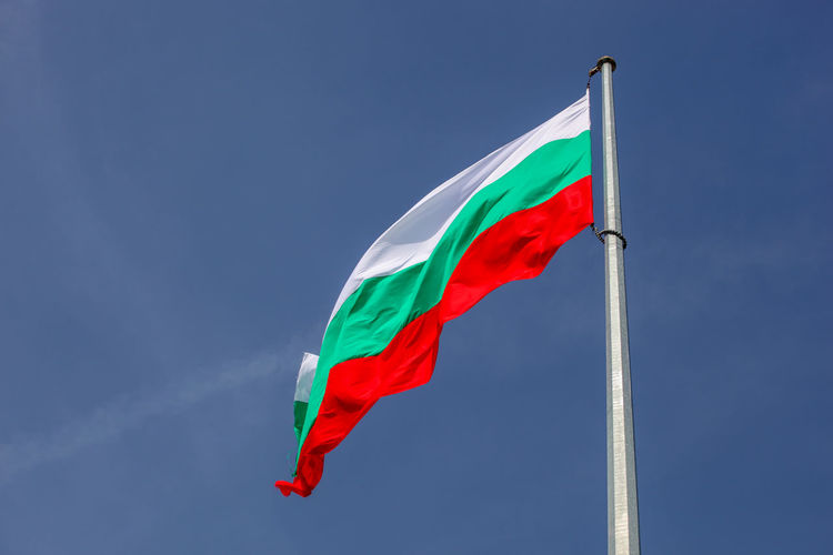 Bulgarian Flag High In Heaven Flag Patriotism Wind Red Sky Low Angle View Nature Environment Pole Waving No People Day Blue Multi Colored Copy Space Outdoors Emotion Pride Clear Sky Bulgaria Bułgaria Bulgarian Bulgaria❤️