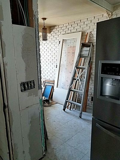 rehab work in the kitchen Property House Fixer-upper Fixerupper Fixer Upper Needs Work Drywall Rehabbed Renovation, Kitchen Ladder Run Down Neglected Repairing Repair Architecture Built Structure Deterioration Run-down Bad Condition