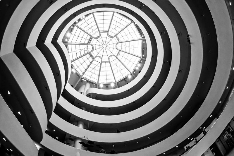 The concentric rings of the atrium roof at the Guggenheim Museum in New York City. Atrium Atrıum Concentric Pattern Guggenheim NYC New York New York City Roof Architecture Black And White Built Structure Close-up Concentric Circles Day Guggenheimmuseum Indoors  Museum No People Pattern