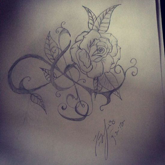 How is this?? Music Treble Clef Rosé drawing