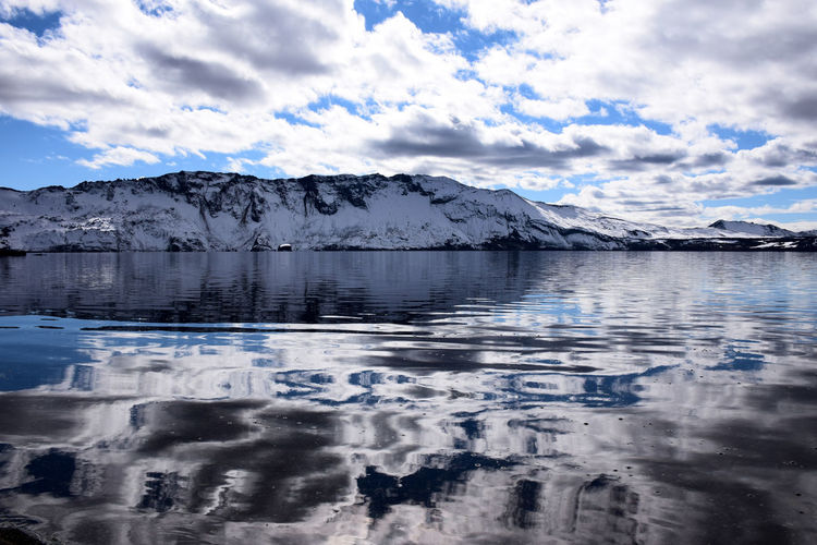 Askja, Iceland Beauty In Nature Blue Cloud - Sky Cold Temperature Day Frozen Glacier Ice Iceland Lake Mountain Nature No People Outdoors Reflection Sky Snow Water