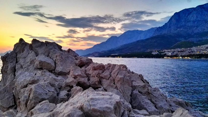 Landscape Sunset Rocks Mountains From My Point Of View Landscape_Collection Nature_perfection Nature Nature Is Art From Where I Stand Nature_collection Rock - Object Croatia Makarska Sea View Sunset_collection Holidays In Croatia Adriatic Sea The Essence Of Summer EyeEm Nature Lover Mountain_collection Sea_collection Clouds And Sky Sky Colours Colour Of Life (Makarska, Croatia - July 2016)