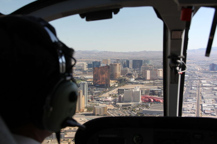 Cityscape seen through car window