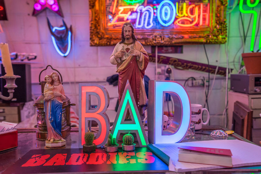 Neon signs and decorations at God's Own Junkyard in Walthamstow, London. Bright Colors Colourful Neon Signs Bad City Lighting Neon Neon Lights Text Urban Urban Lighting