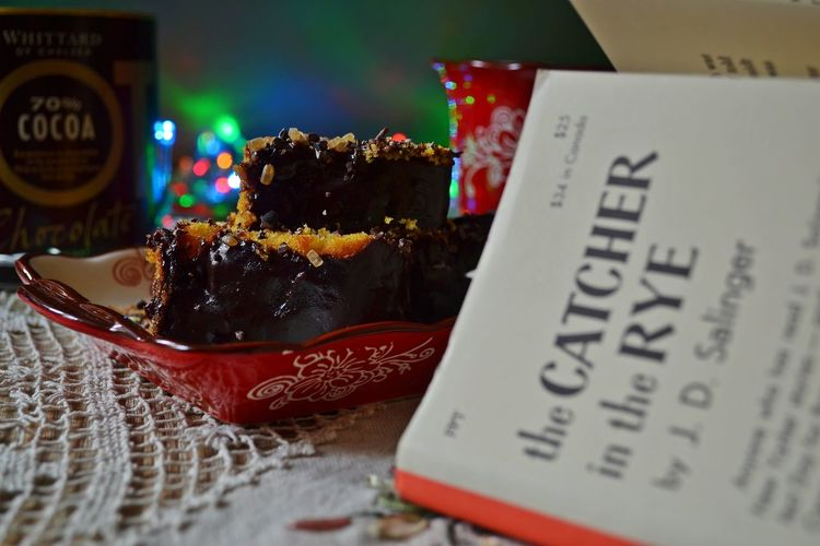Celebration Chocolate Cake Christmas Lights Close-up Cosy Home Day Favourite Books Food Freshness Holidays Indoors  Indulgence Life Events No People Reading Time Sweet Food Table Tradition Winter Leisure