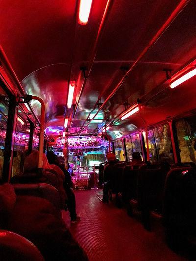 Bondi Colectivo Linea721 Neon Amient Light Sobrio Transporte Illuminated Vehicle Seat Public Transportation Vehicle Interior