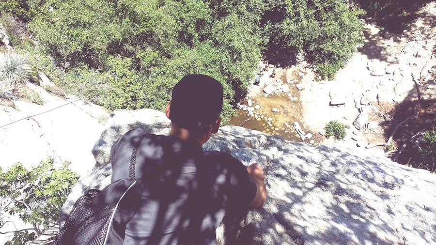 The view over a waterfall 👌 Losangeles Hiking Adventure Me And My Broskies  Waterfall Photography Heights Cliffs Mountains Nature