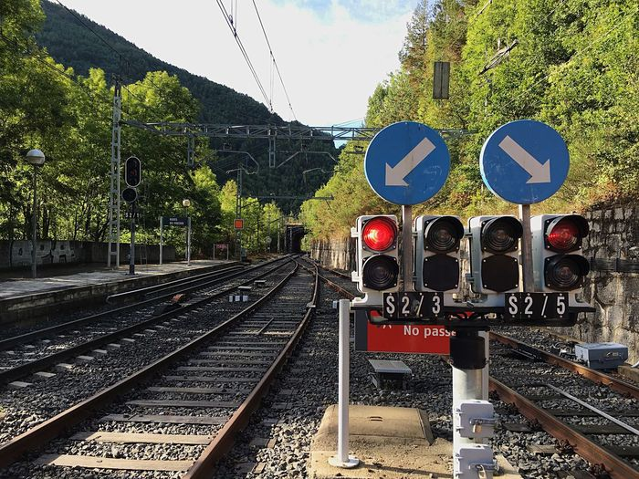 Transportation Railroad Track Rail Transportation Public Transportation Railroad Station Platform Direction Sign Travel Mode Of Transport Tree Public Transport Journey Outdoors Sky The Way Forward Railway Track Railway Station Day Railway Signal Track Long