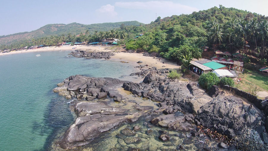 Crystal Clear Waters and Beach Rocks taken from Drone