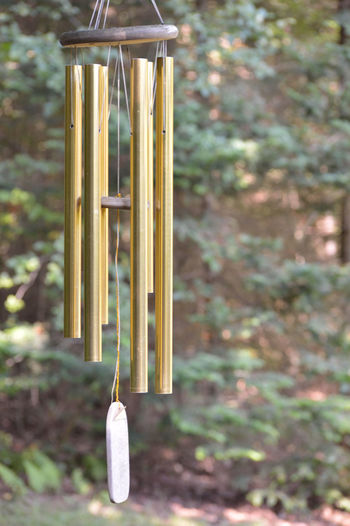 Chime Chimes Close-up Day Forest Metal No People Selective Focus Still Life Wood - Material