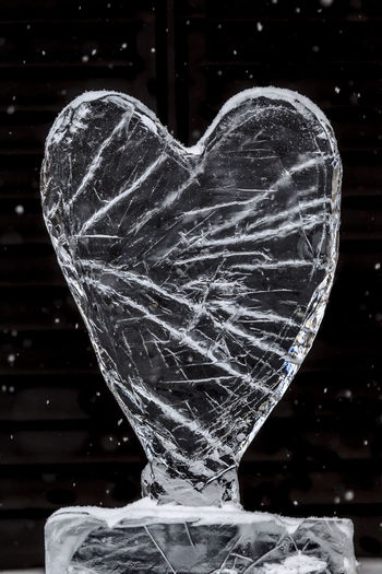 Cold heart of ice in Stockholm Close-up Indoors  No People Transparent Focus On Foreground Creativity Glass - Material Motion Heart Shape Art And Craft Ice Design Representation Frozen Still Life Vulnerability  Fragility Emotion Ice Cold Temperature Cold Black Background Stockholm Glass