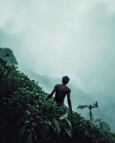 Rear view of shirtless man looking at mountain against sky