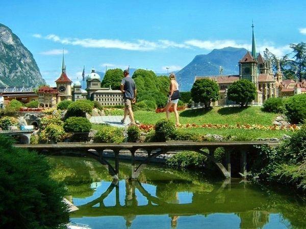 Swiss Miniature Famous Place Lugano, Switzerland Luganolake