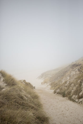Beauty In Nature Day Foggy Grass Island Landscape Misty Nature No People Nordic Nordic Sea Ocean Outdoors Sand Sand Dune Scenics Tranquil Scene Tranquility Travel Vacations
