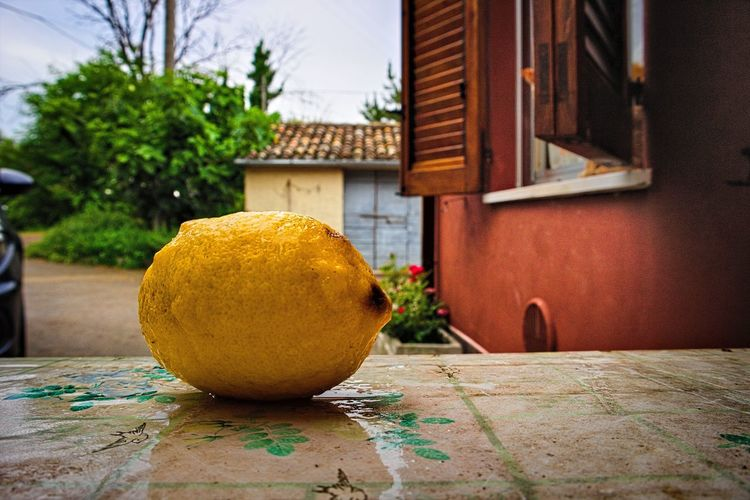 Close-up of orange fruit on table by house