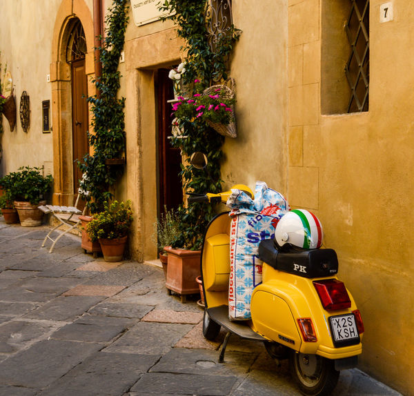 Italy Flag Vespa Building Exterior Built Structure Day Helmet Italy Moto Motorbike No People Old Outdoors Street Toscany Town Village Yellow