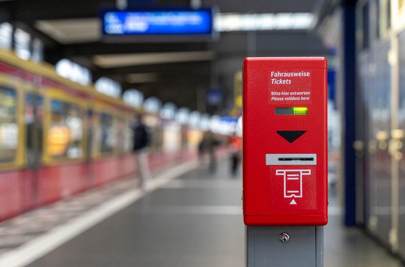 Information sign on railroad station platform