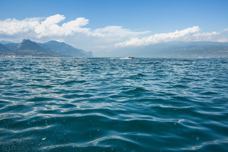 Scenic view of sea against sky at lake garda italy