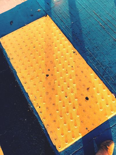 Yellow High Angle View Safety No People Close-up Textured  Day Outdoors Street Access Bumpy Blue