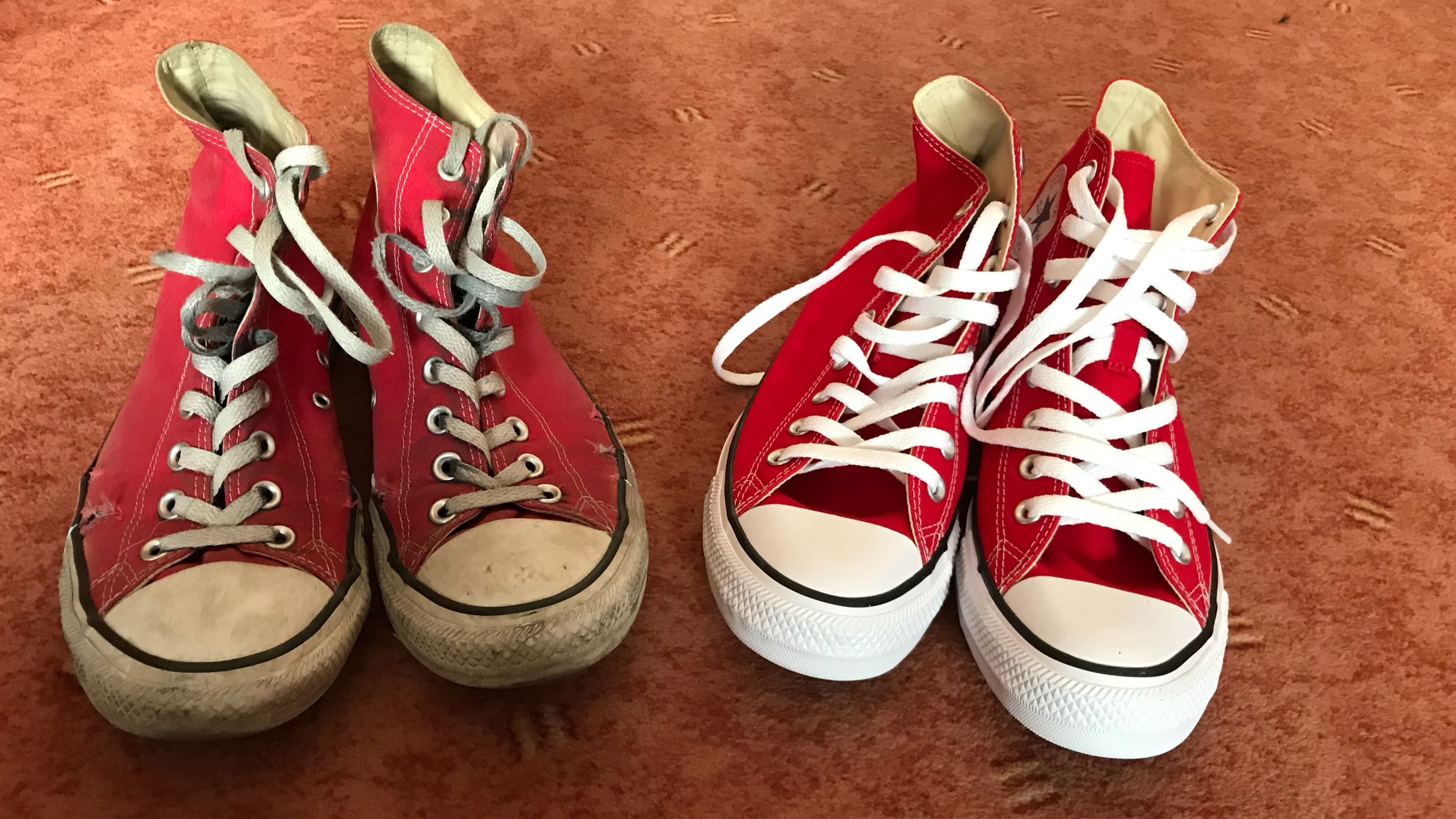 shoe, pair, still life, indoors, no people, red, close-up, canvas shoe, choice, variation, shoelace, high angle view, group of objects, fashion, compatibility, colored background, side by side, table, white color, directly above, personal accessory