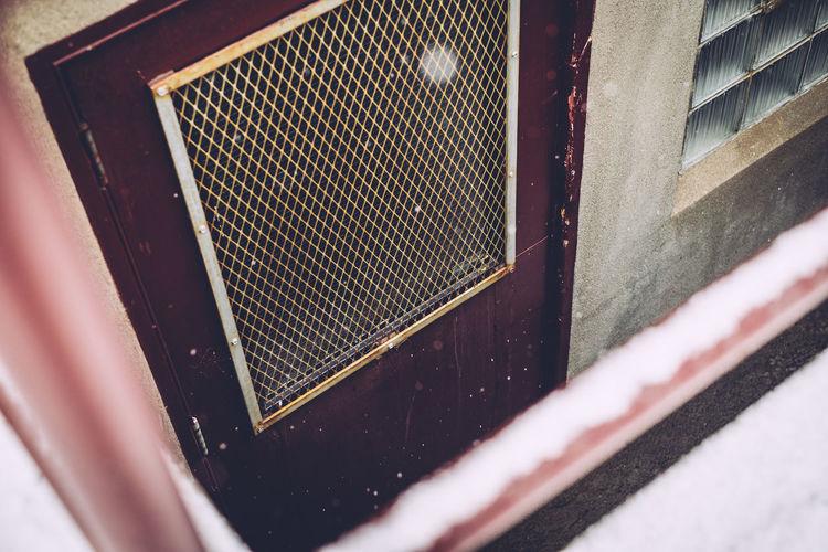 High angle view of door