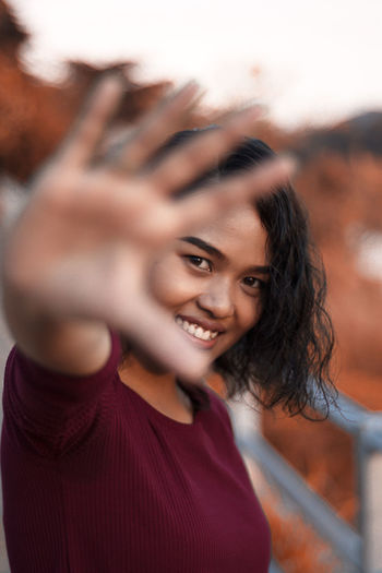 Smile of Thailand Smiling Happiness Portrait Emotion Teeth Hair Toothy Smile Casual Clothing Headshot Looking At Camera Women Hand Hairstyle Selective Focus EyeEmNewHere