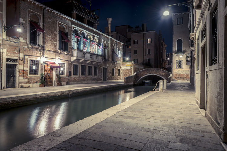 Nature Architecture Night Building Exterior Illuminated Lighting Equipment No People Reflection Water Building Canal Built Structure Nature Outdoors City Footpath Residential District Street Street Light Spooky Alley