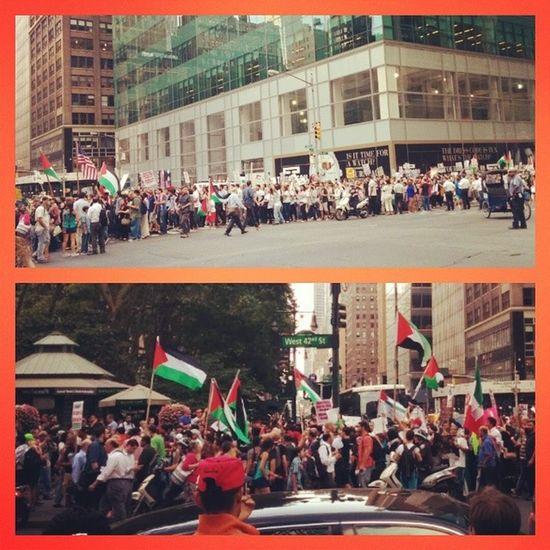 NYC Boycott Israeli Terrorists protest 42ndst America Israel let Gaza live signs crazy
