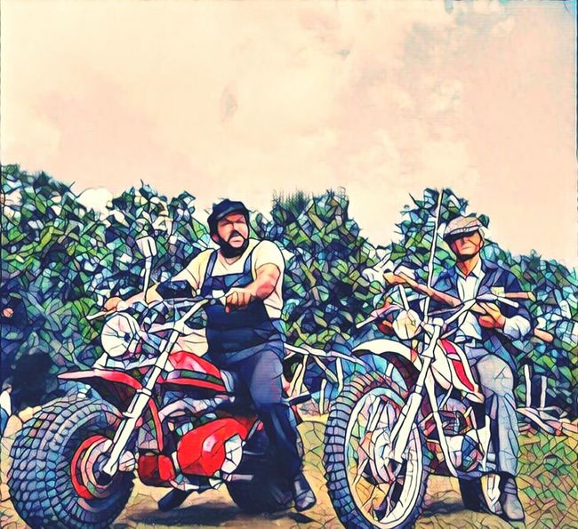 Bud Spencer Saying Good Morning To Me Terence Hill Bicycle Hello Friends :) For You ;-) Multi Colored Cool Pic Composition Color Portrait ☺ Creativity My Favourite Series Only Men