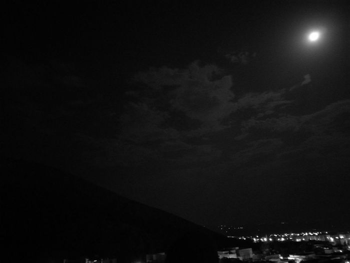 Moonlight Moon Town Hill Clouds And Sky Night City Illuminated Building Exterior