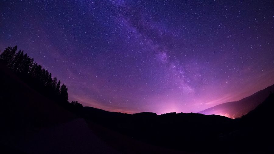 Star - Space Silhouette Astronomy Nature Beauty In Nature Purple Night Space Scenics Tranquil Scene Tranquility Star Field Galaxy No People Mountain Sky Landscape Constellation Outdoors Milky Way