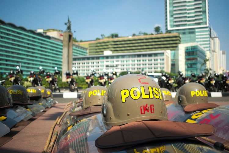 May Day march in Jakarta. Abundance Anti Riot Police Helmet In A Row Labor Day Lined Up Mayday  Police Police Helmet Protest Readiness Riot Gear Safe Safety Security Shield Side By Side Stick Photojournalism The Photojournalist - 2017 EyeEm Awards