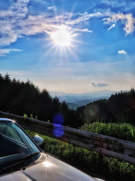 山道 林道 登山道 山並み マツダ ロードスター クルマ Mazda Mx5 Miata Car Sky Transportation Cloud - Sky Land Vehicle Tree Nature 自然 EyeEm EyeEm Daily EyeEm Nature Lover EyeEm Daily Nature Mountains Road Driving Sunlight