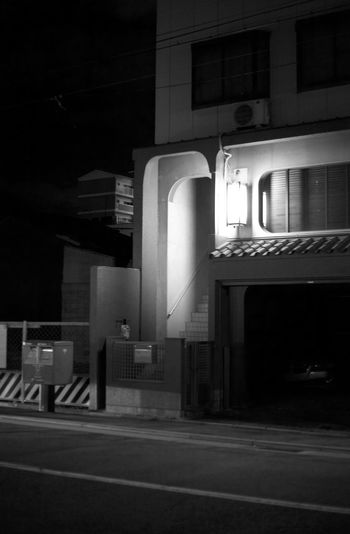 Japan Absence Architecture Building Building Exterior Built Structure City City Life Dark Illuminated Kyoto Lighting Equipment Nature Night No People Outdoors Residential District Road Sign Street Transportation Window