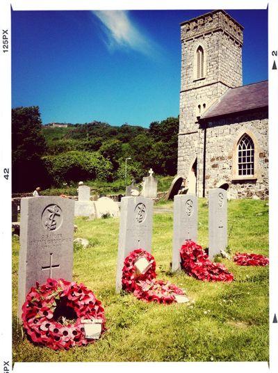 War Graves, Rathlin Island, Northern Ireland. WW1 Centenary Church Remembrance Poppy