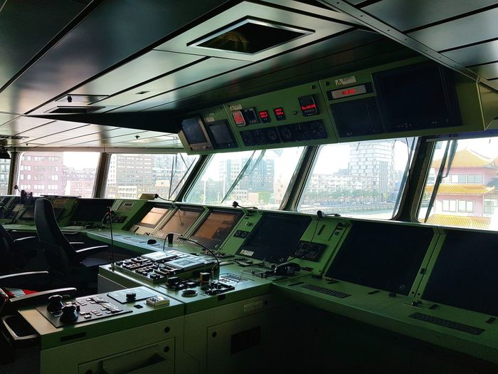 Indoors  No People Control Panel Technology Cockpit Technology Everywhere Nautical Vessel Eye4photography  Taking Photos Taking Pictures Boats And Water Wereldhavendagen Ships⚓️⛵️🚢 Ships Boats Warfare War Ship Marine Marine Life Army Window Transportation Buttons Amazing View Mode Of Transport