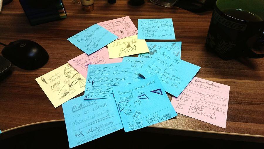 Каждый раз на митингах я рисую и пишу заметочки, чем больше стресса, тем чудесатее бумажечки. Фрейд бы заинтересовался.
