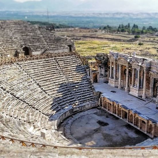 Ancient theatre at Hierapolis. Pretty amazing that this was built on a big cliff hundreds of years ago with no mechanical tech. Turkey Denizli Pamukkale Travel Travelreal Traveling Instatravel Travelgram Ancient History Ruins View Awesome Adventure Intrepid Intrepidtravel