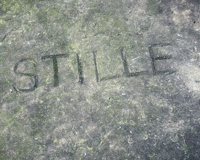 High angle view of text on field