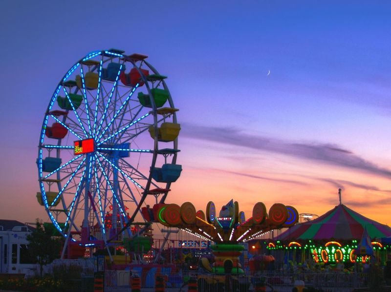 Summer fun Ferris Wheel Amusement Park Sunset Dusk Night Travel Destinations Nightlife Circle Illuminated Amusement Park Ride Sky Silhouette Outdoors Built StructureBlue Sky City Nature Fair Ferris Wheel Wasaga Beach Wasagabeach Fair Rides Sunset_collection Blue Hour Sunset_captures