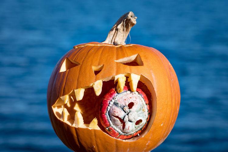Close-up of pumpkin on halloween